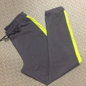 FABLETICS Gray Neon Track Workout Pants Med NEW